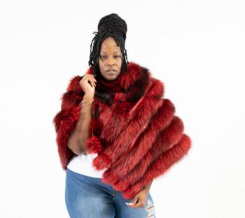 Women's Red Fox Fur Poncho