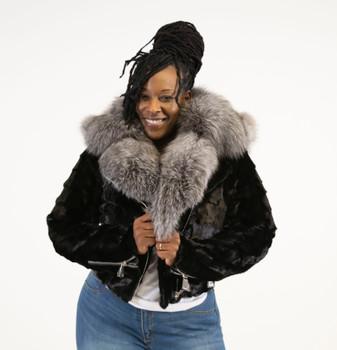 Black Diamond Mink Ladies Moto Jacket