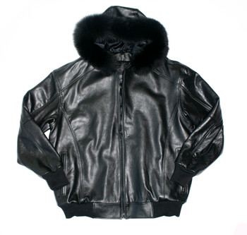 It's the 90's Black Snorkal Leather Bomber Jacket