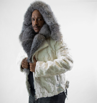 White Diamond Mink Fur Motor Jacket
