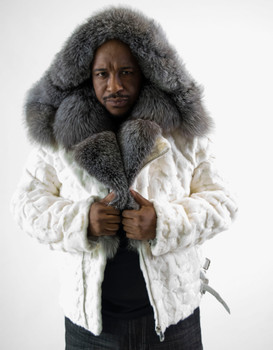 White Diamond Mink Fur Motor Jacket