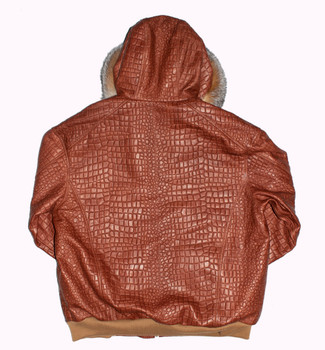 Tan Croc Look Snorkal Leather Jacket