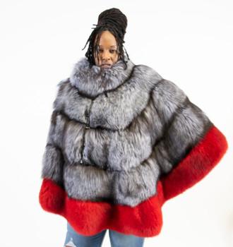Silver Fox Fur Poncho Red Trim