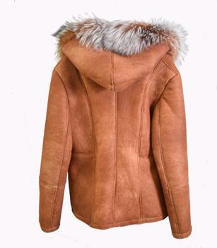 Ladies Cognac Side Zip Sheepskin with Fox Fur Hood