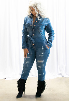 Ladies Denim Distressed Jumpsuit