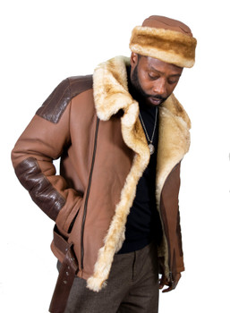 Brown 2 Tone Sheepskin Pilot Jacket