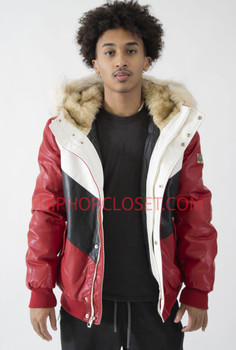 Red Faux Leather Bomber with Hood