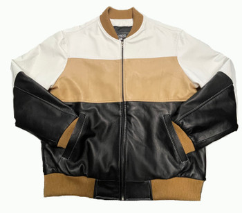 Tan Black and White Lightweight leather jacket