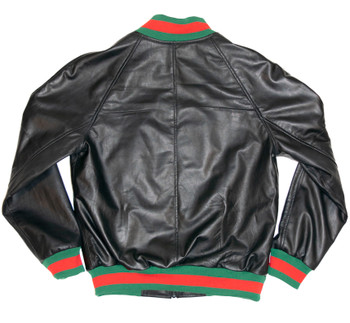 Black lightweight leather jacket with Red and Green Trim
