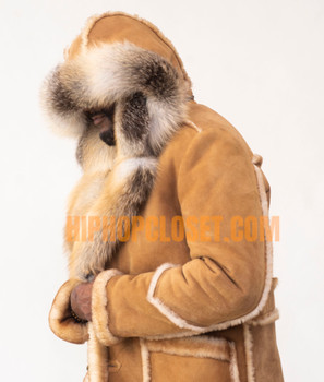 Three Quarter Tonka Sheepskin with Fox Fur Collar and Trim