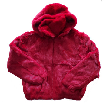 Ladies Red Fur Bomber Jacket