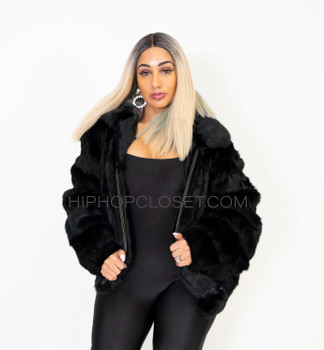 Ladies Black Rabbit Fur Bomber