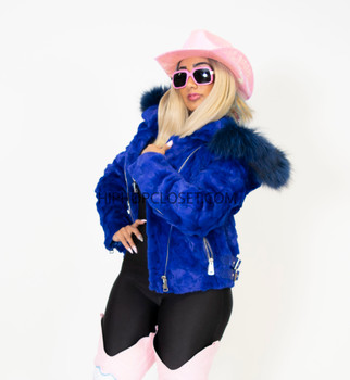 Royal Blue Ladies Biker Mink with Fox Collar and Trim on Hood (Shown with Collar removed)