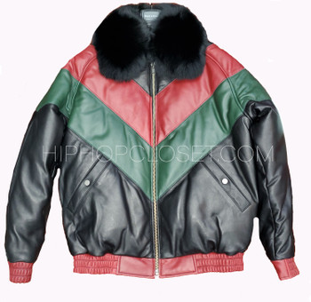 Red Black and Green Leather V Bomber Jacket