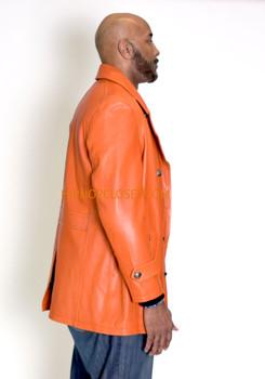 Orange Leather Peacoat