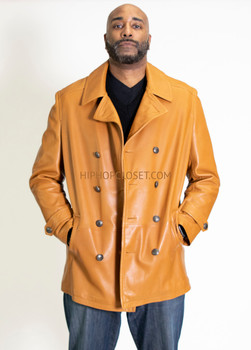 Peanut Butter Leather Peacoat