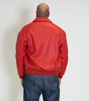 It's the 90's Red French Leather Bomber Jacket
