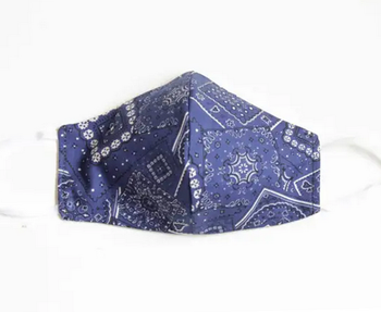 Blue Bandana Print Face Cover