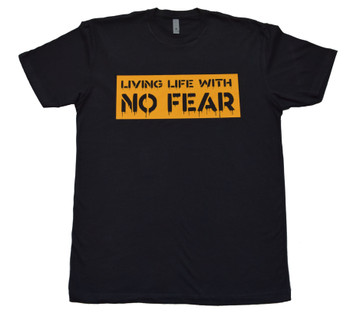 Living Life With No Fear Yellow Block Tee