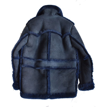 Navy Blue Old School Sheepskin Shearling Jacket