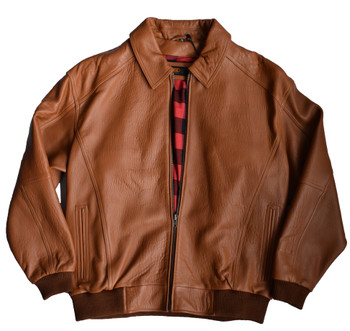 It's the 90s French Leather Cognac Bomber Jacket