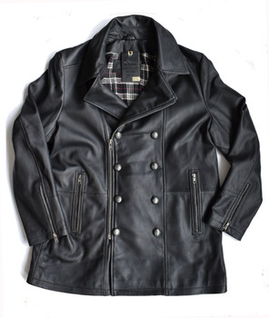Double Breasted Black Leather Pea Coat