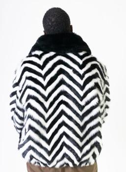 Black and White Mink Tails Fur Jacket for Men