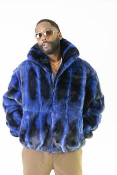Black and Royal Blue Rex Rabbit Fur Jacket