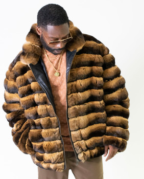 Brown and Black Chinchilla Fur Jacket