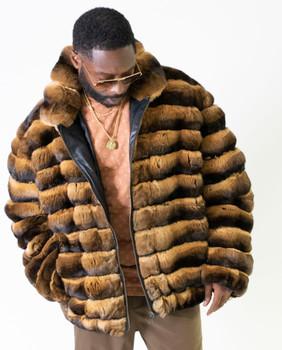 Brown and Black Chinchilla Fur Jacket