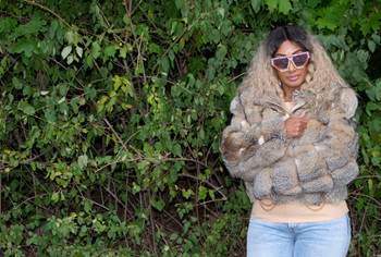 Fox Fur Natural Hooded Ladies Cropped Jacket