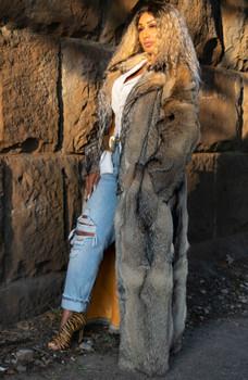 Reversible Raw Shearling to Fox Long Coat