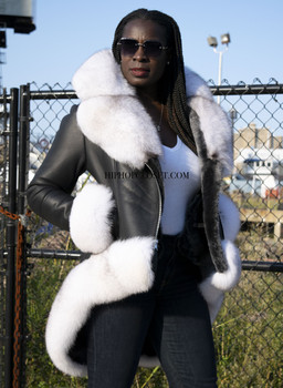 Black Shearling with white Fox Fur Trim