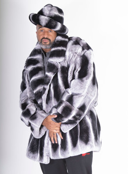 Rex Rabbit Fur Mens Peacoat
