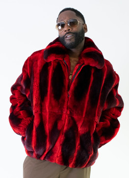 Black and Red Rex Rabbit Fur Jacket