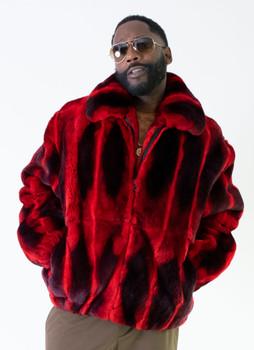 Black and Red Rex Rabbit Fur Jacket