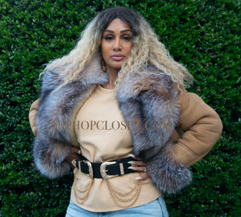 Tan Cropped Sheepskin Jacket with Fox Fur Collar