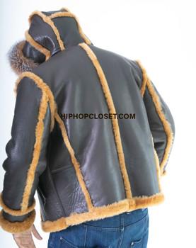 Brown Denali Style Pilot sheepskin jacket with hood for Men