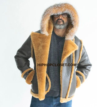 Brown Denali Style Pilot sheepskin jacket with hood for Men