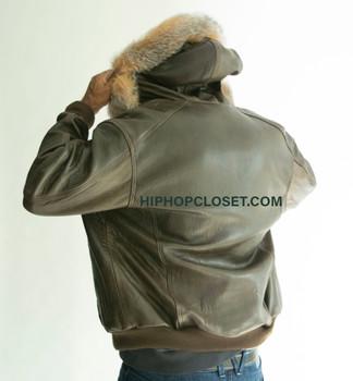 Brown Mens Snorkal leather jacket