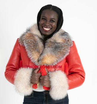 Red ladies short cropped sheepskin jacket