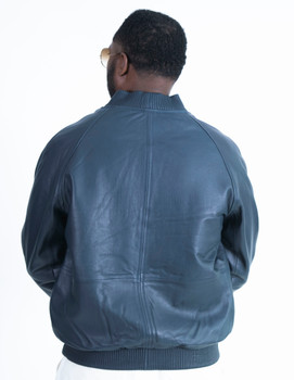 Navy Blue Baseball Butter Soft  Leather Jacket