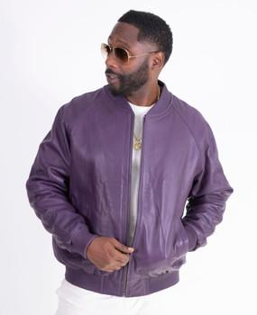 Purple Leather Baseball Jacket