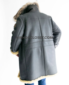 Three Quarter Sheepskin with Fox Collar