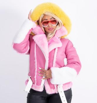 Pinky Sheepskin Ladies Jacket pink and white