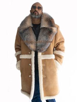 Three Quarter long Old Tan School Sheepkin Shearling with Fur Collar