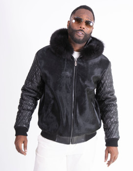 Pony Hair Mink and Leather bomber jacket with hood