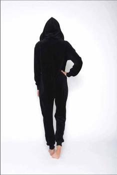 Women Black Velours Onesie