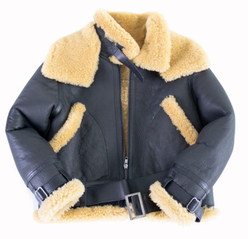 Kids Black B3 Bomber Shearling Coat