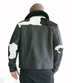 Cow Print Shearling and Pony Fur Mens Jacket